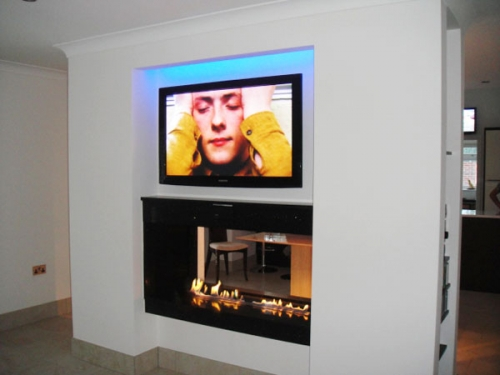 Two Large Bio Containers in a granite self-build, see-through fireplace. Picture: courtesy of a customer David Hildred