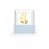 Glass Cube Burner White