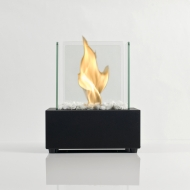 Glass Cube II Black Table Fire