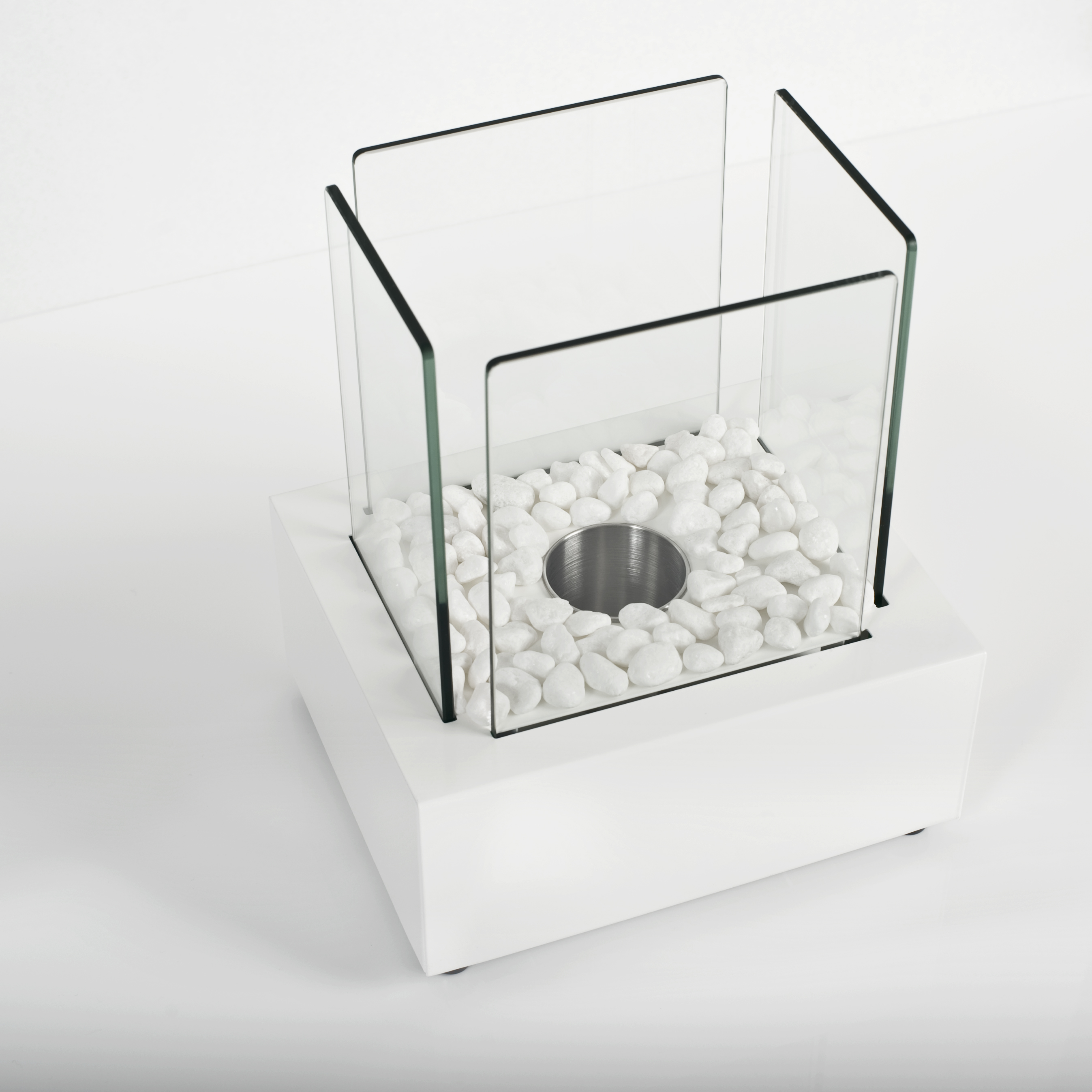 Glass Cube II White Table Fire