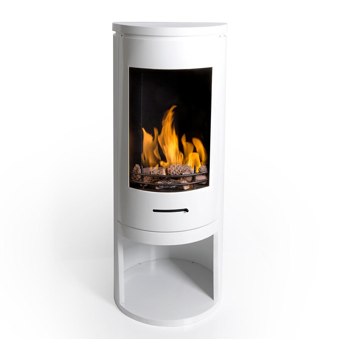 White Contemporary Cylinder Bioethanol Stove