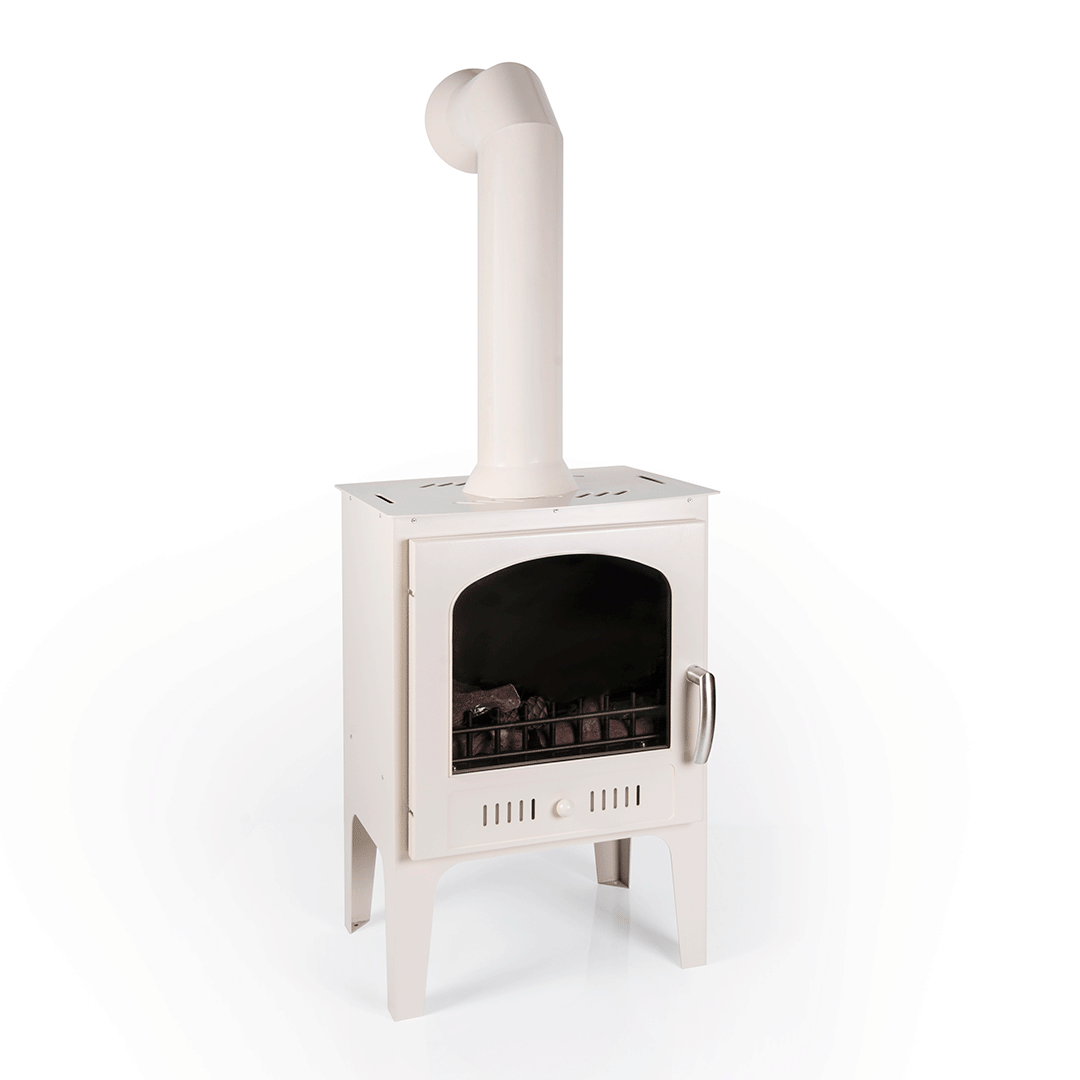 Log Burner Effect Cream Traditional Bio Ethanol Stove With