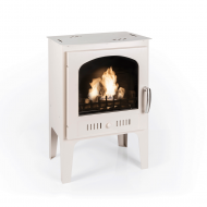 NEW - Log Burner Effect Cream Traditional Bio Ethanol Stove